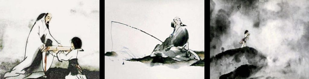 feelings of mountains and waters animation and ink wash painting