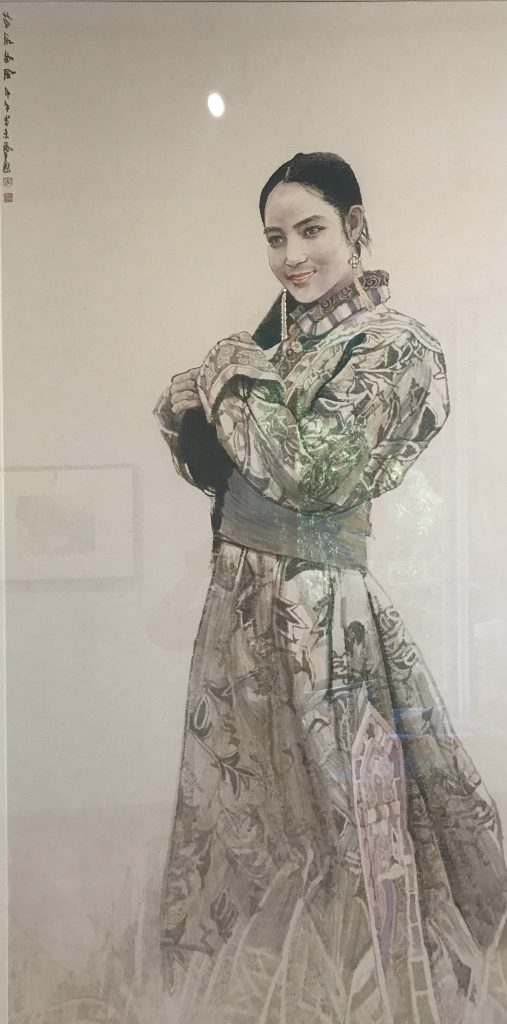 contemporary ink wash painting realistic portrayal of a chinese woman