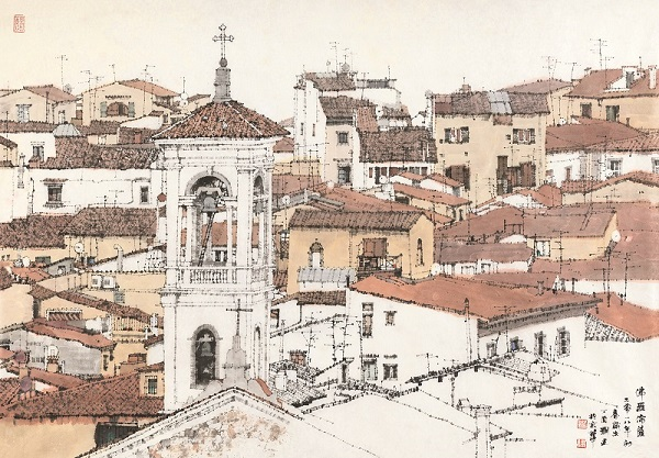 florence in ink wash style contemporary chinese ink wash painting