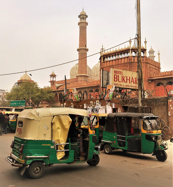 Rickshaw in front of Jama Masjid in Delhi, India