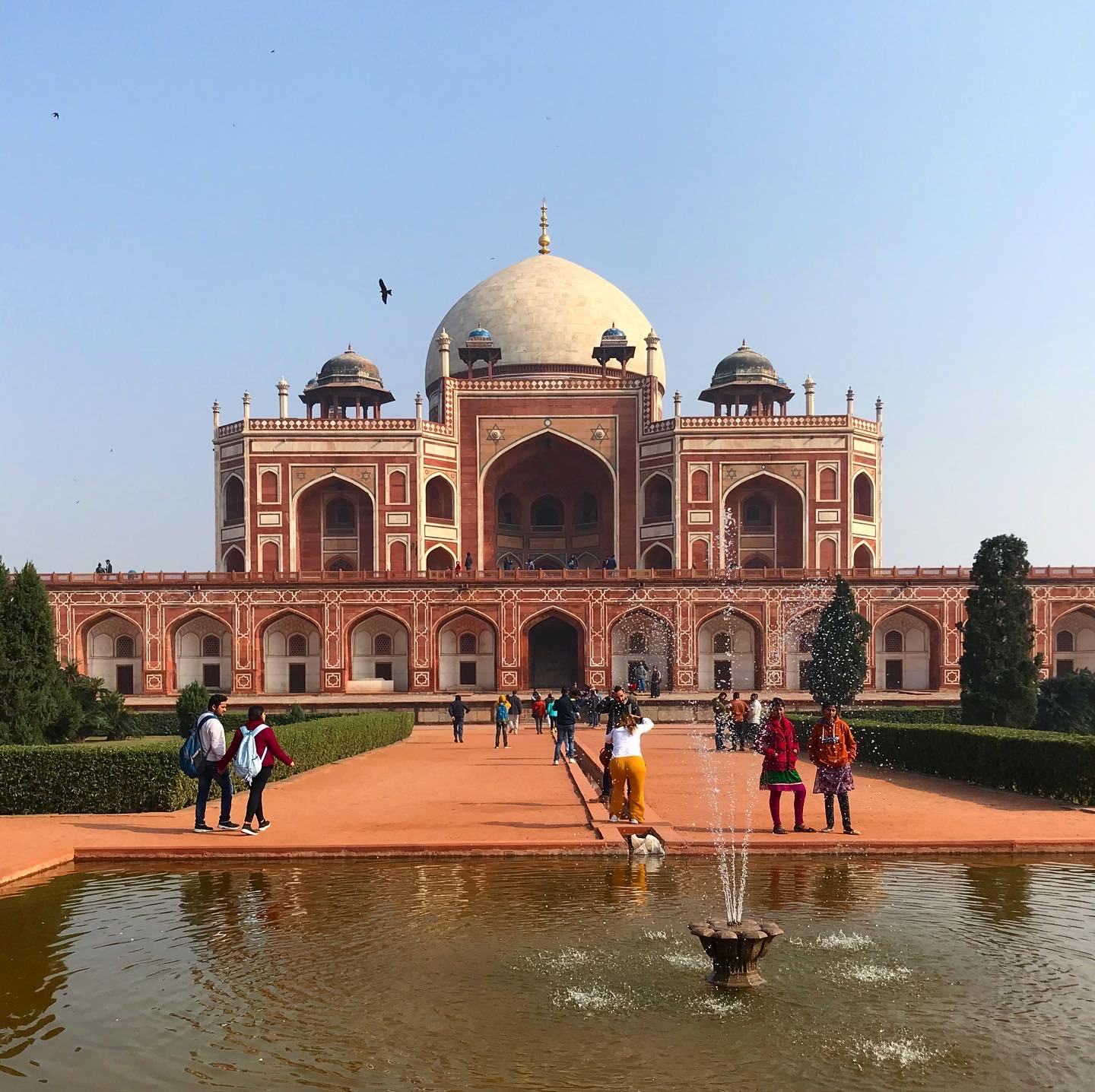 Front view of Humayun's tomb with the fountain and similar architecture as the Taj mahal