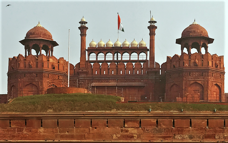 The Red Fort in Delhi India seen from afar