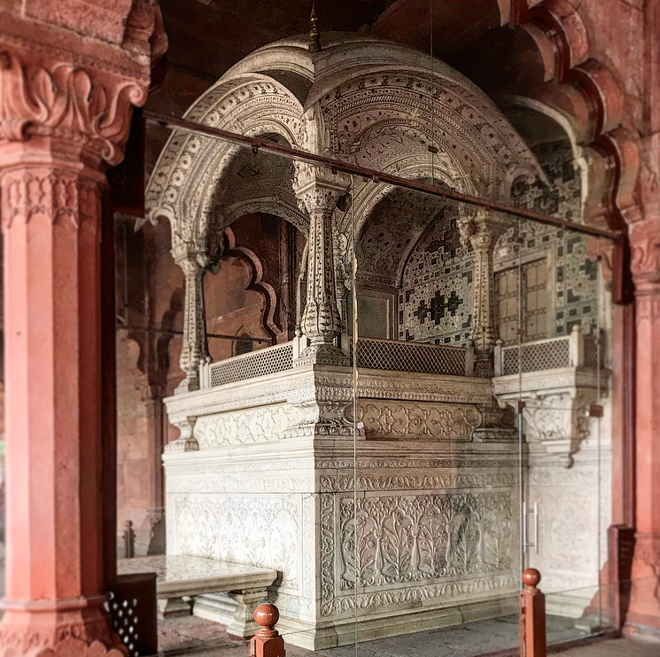 The peacock throne at the Red Fort in Delhi.