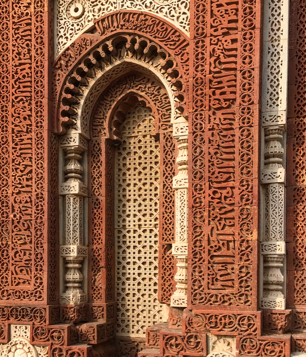 The fine details on the mauselums at the Qutub Minar comples in Delhi, India