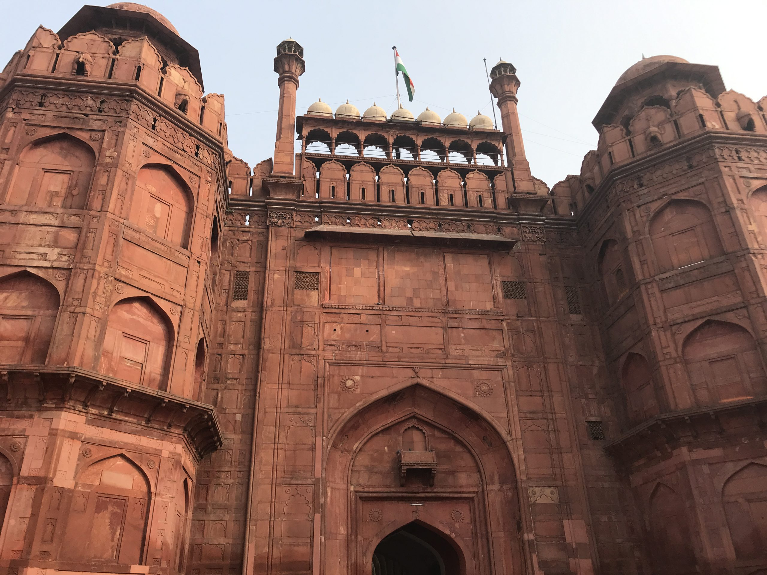 The entrance gate of the REd fort in Delhi, India. A stunning monument from the Mughal times built by Shah Jahan the same one who built the Taj Mahal in Agra