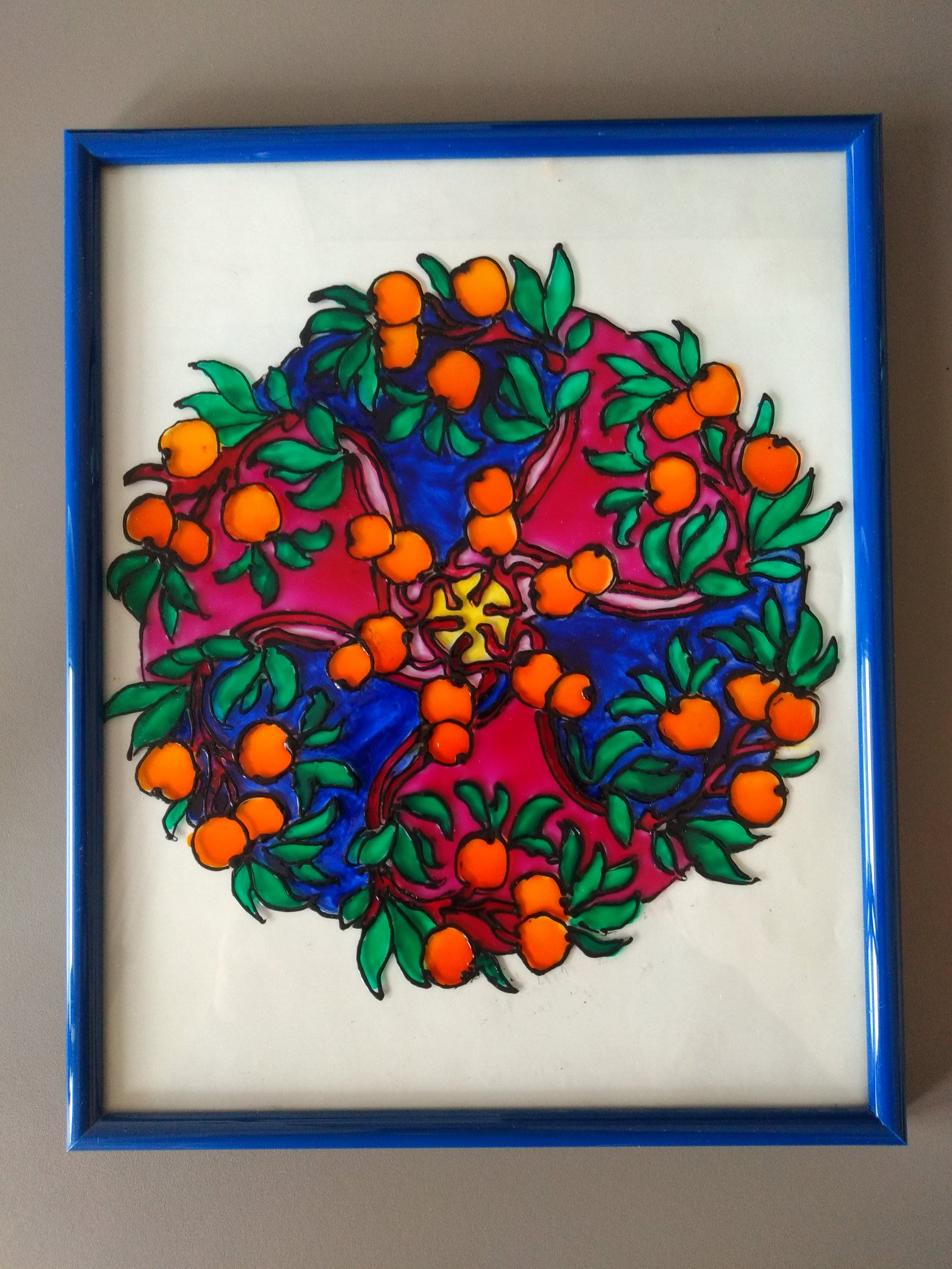 Painting on glass as a gift for your mother on mother's day or international women's day