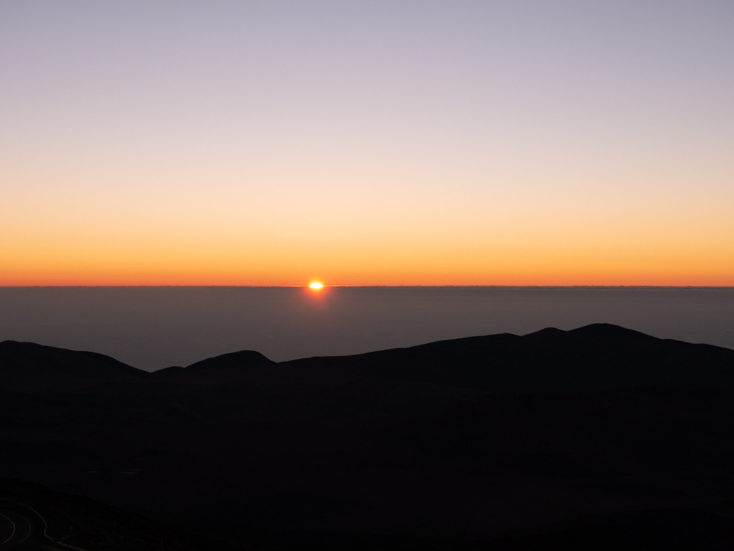 Sunset at the Atacama desert in Chile. View from the Paranal observatory.